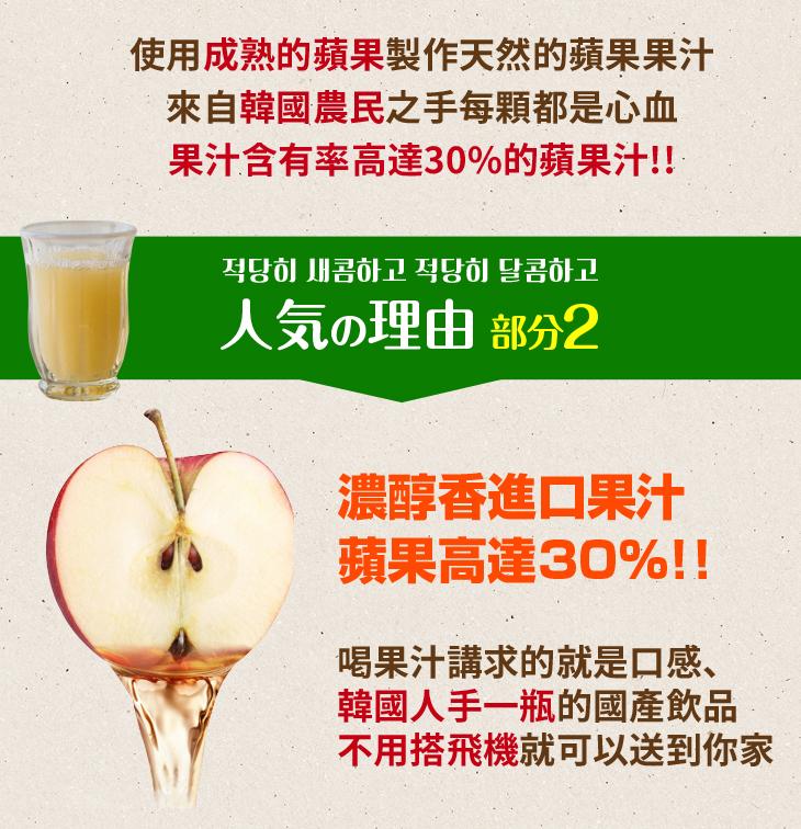 2018年菜預購【台北濱江】韓國蘋果發源地,果汁含量高達30%-韓國蘋果果汁15入/箱